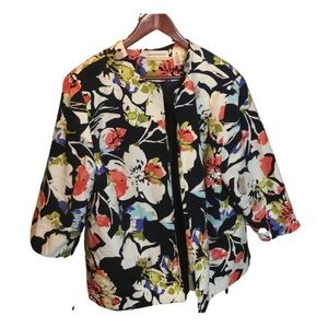 ALFRED DUNNER - Plus Size Floral Print Blazer Navy